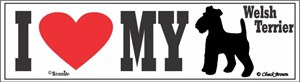 Welsh Terrier Bumper Sticker I Love My