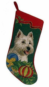 Westie Christmas Stocking Green Bkgrd