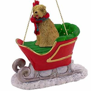 Wheaten Terrier Sleigh Ride Christmas Ornament
