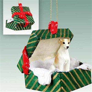 Whippet Gift Box Christmas Ornament Tan-White
