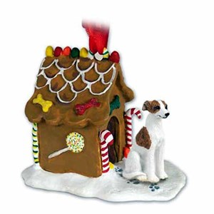 Whippet Gingerbread House Christmas Ornament Brindle-White