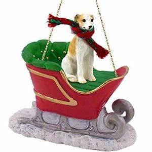 Whippet Sleigh Ride Christmas Ornament Tan-White