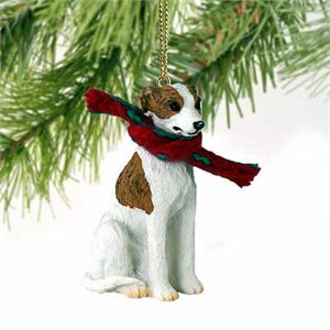 Whippet Tiny One Christmas Ornament Brindle-White