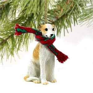 Whippet Tiny One Christmas Ornament Tan-White