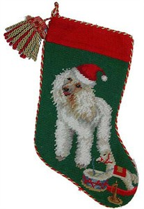 White Poodle Christmas Stocking with Tassle