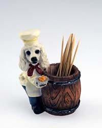 White Poodle Toothpick Holder