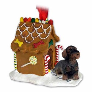 Wire Haired Dachshund Gingerbread House Christmas Ornament Red
