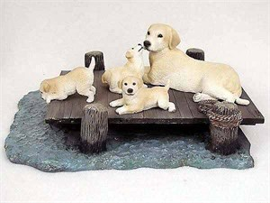 Yellow Lab Figurine Mom & Pups