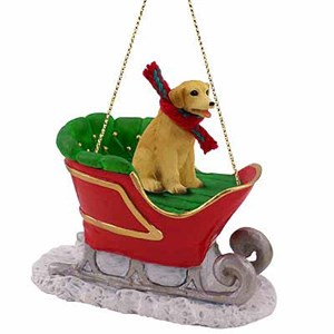 Yellow Lab Sleigh Ride Christmas Ornament
