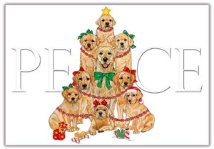 Yellow Labrador Christmas Cards Peace