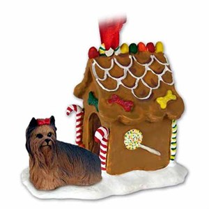 Yorkshire Terrier Gingerbread House Christmas Ornament