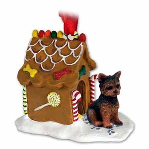 Yorkshire Terrier Gingerbread House Christmas Ornament Puppy Cut