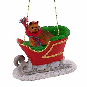 Yorkshire Terrier Sleigh Ride Christmas Ornament