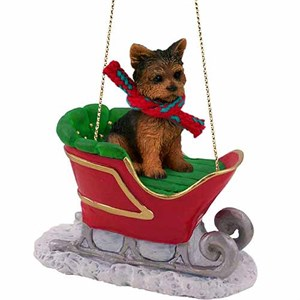 Yorkshire Terrier Sleigh Ride Christmas Ornament Puppy Cut