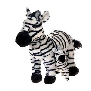 Zebra With Baby Plush Stuffed Animal 12""