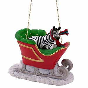 Zebra Sleigh Ride Christmas Ornament